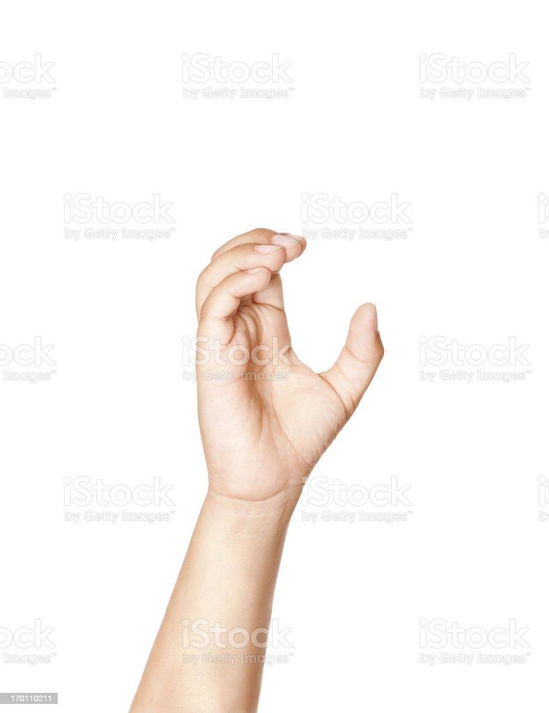 Child Using American Sign Language Letter C stock photo