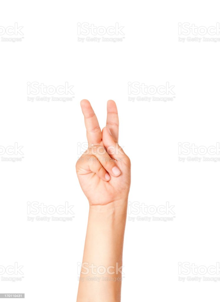 Child Using American Sign Language Letter K stock photo