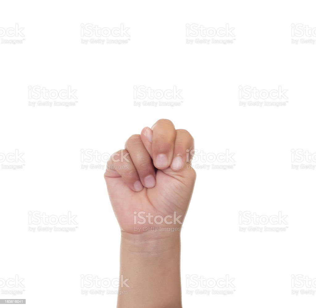 Child Using American Sign Language Letter N royalty-free stock photo