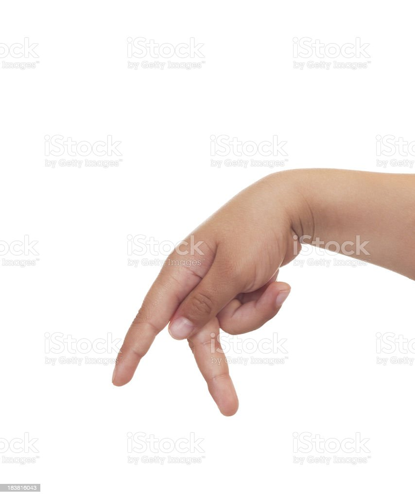 Child Using American Sign Language Letter P royalty-free stock photo