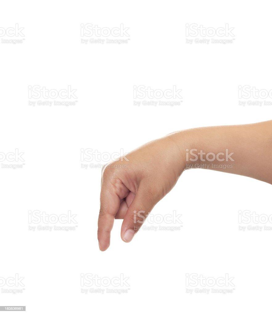 Child Using American Sign Language Letter Q stock photo