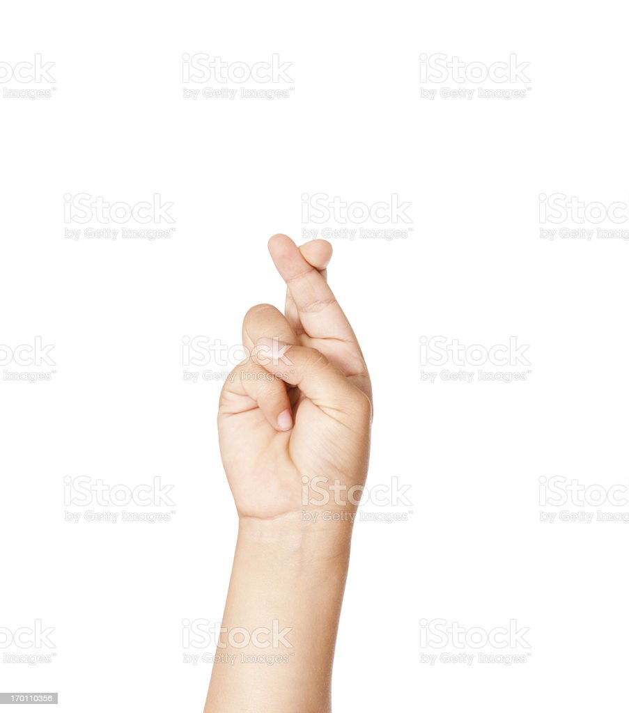 Child Using American Sign Language Letter R stock photo