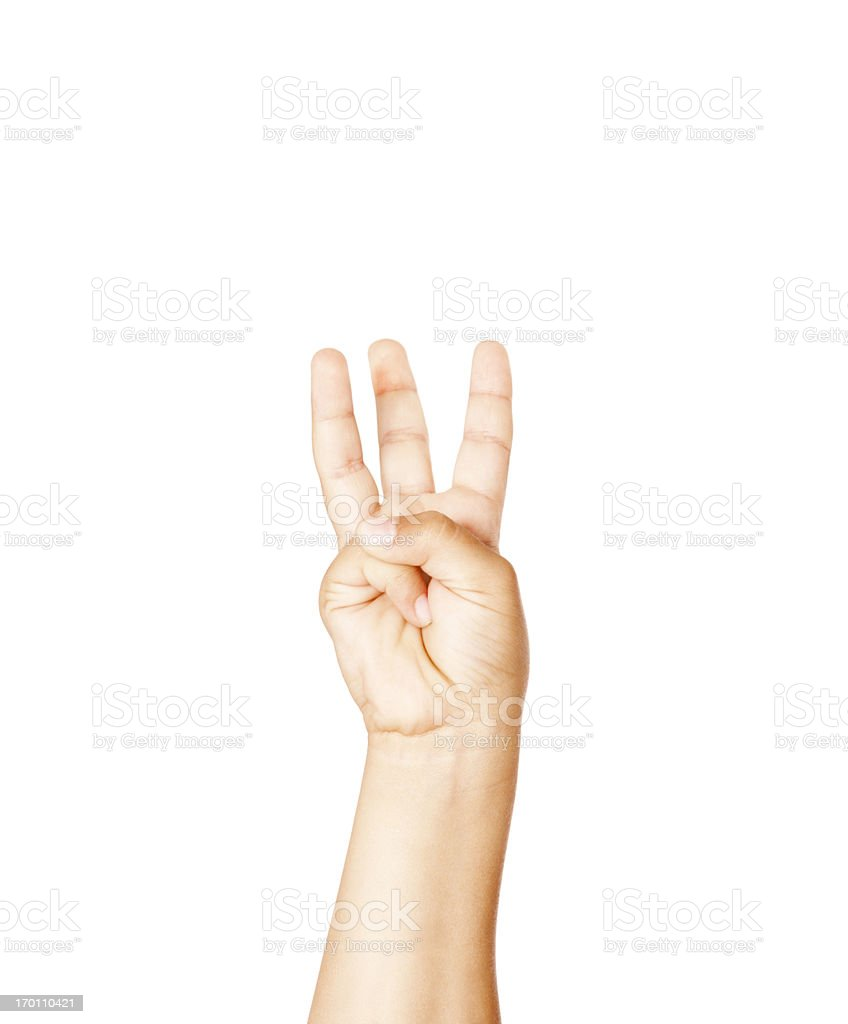 Child Using American Sign Language Letter W royalty-free stock photo