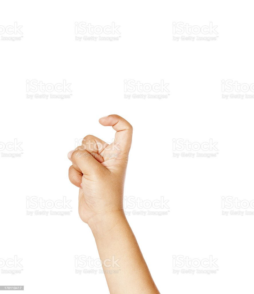 Child Using American Sign Language Letter X stock photo