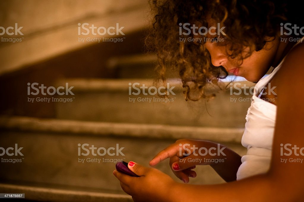 Child (7-8) Using Digital Tablet royalty-free stock photo