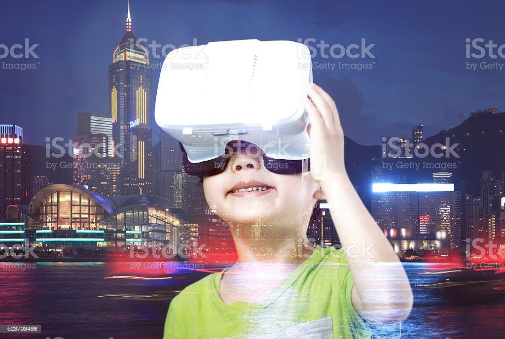 Child Using Virtual Reality Headset stock photo