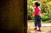 PEOPLE: Child (4-5) Walking To Garden