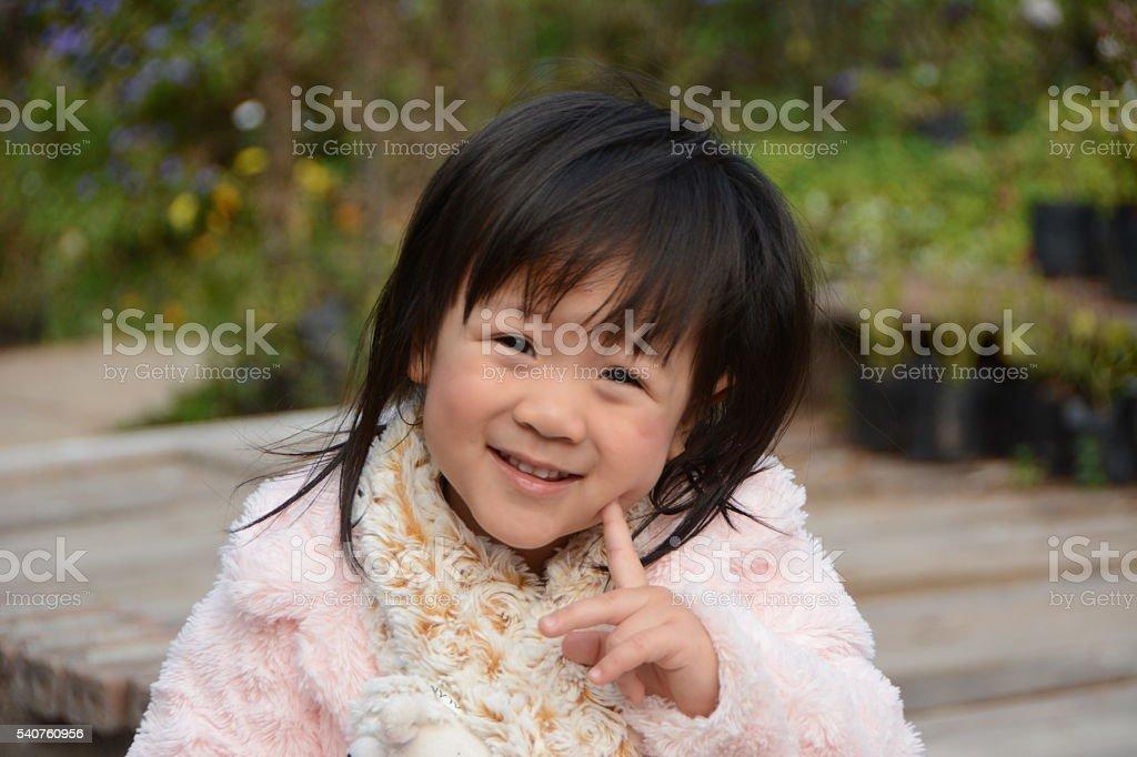 Child wear outdoor sweater in winter (2Y) stock photo