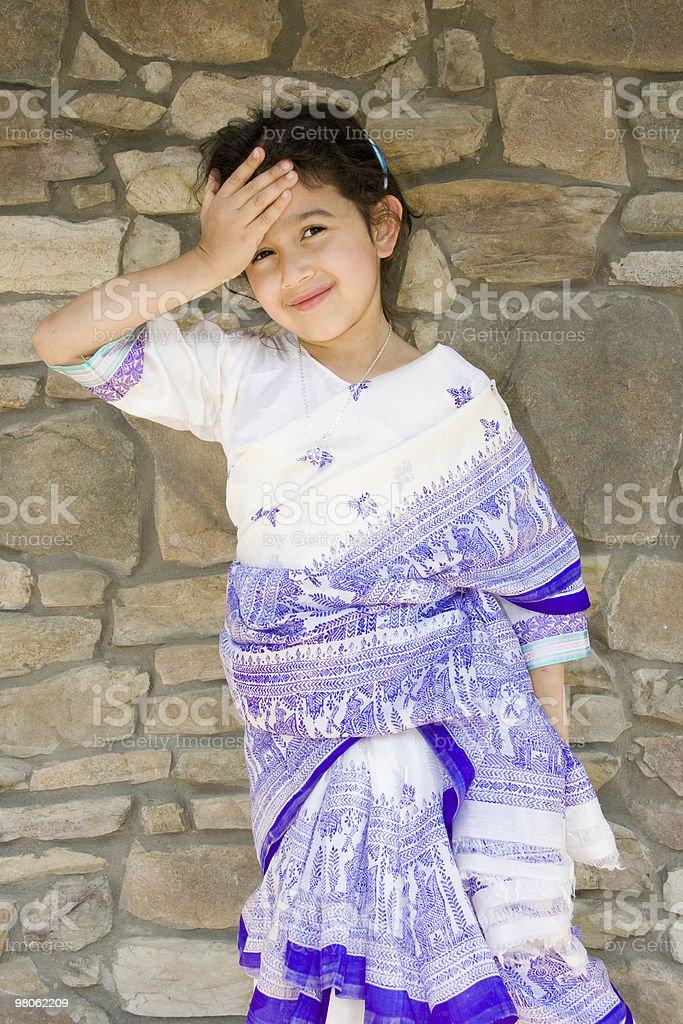 Child Wearing Sari royalty-free stock photo