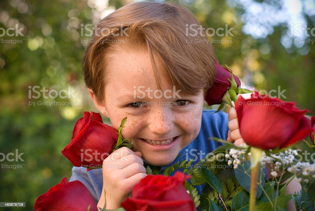 Child Wishing Mom Happy Valentine's or Mother's Day royalty-free stock photo