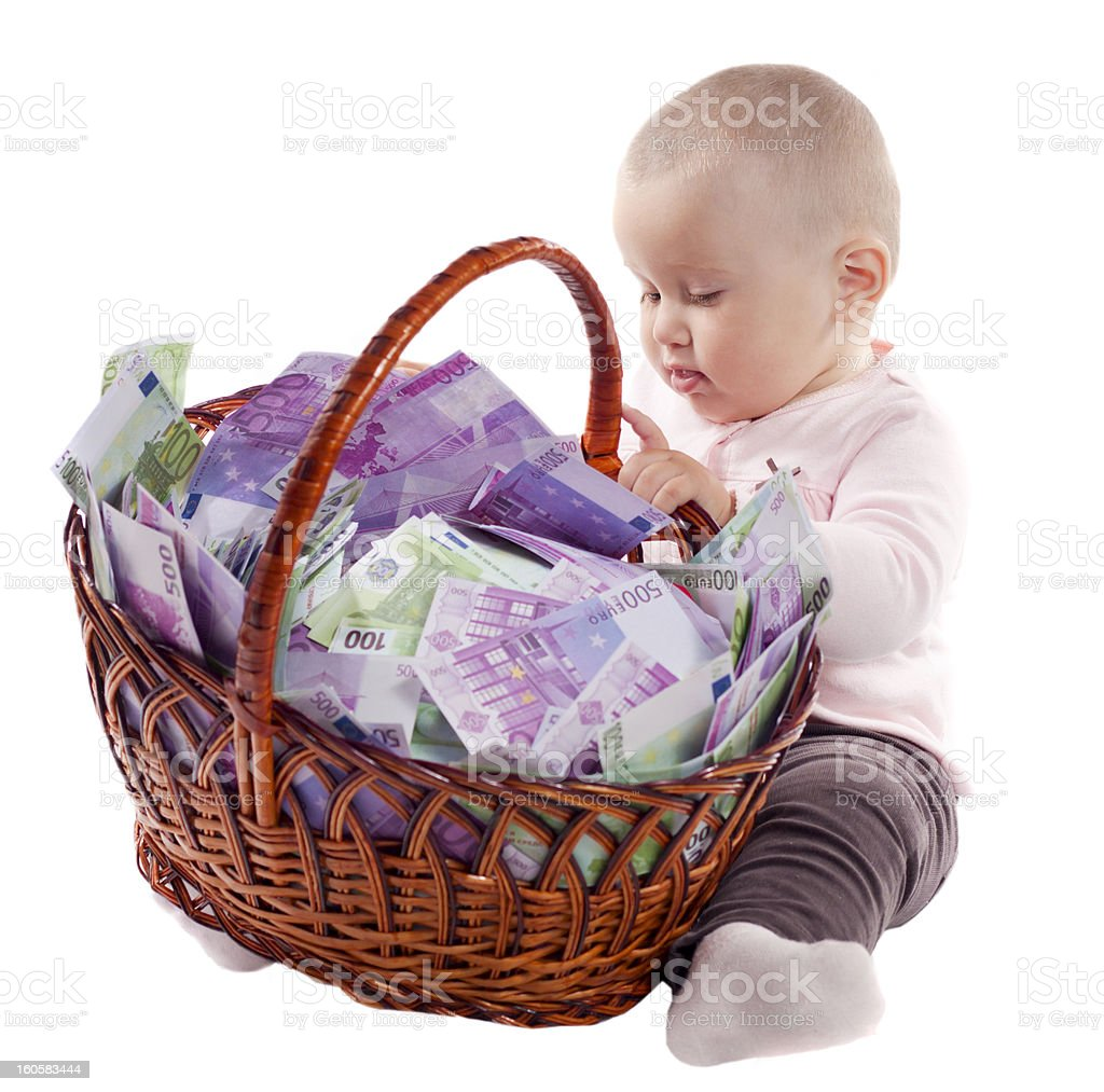 child with a basket of euro royalty-free stock photo