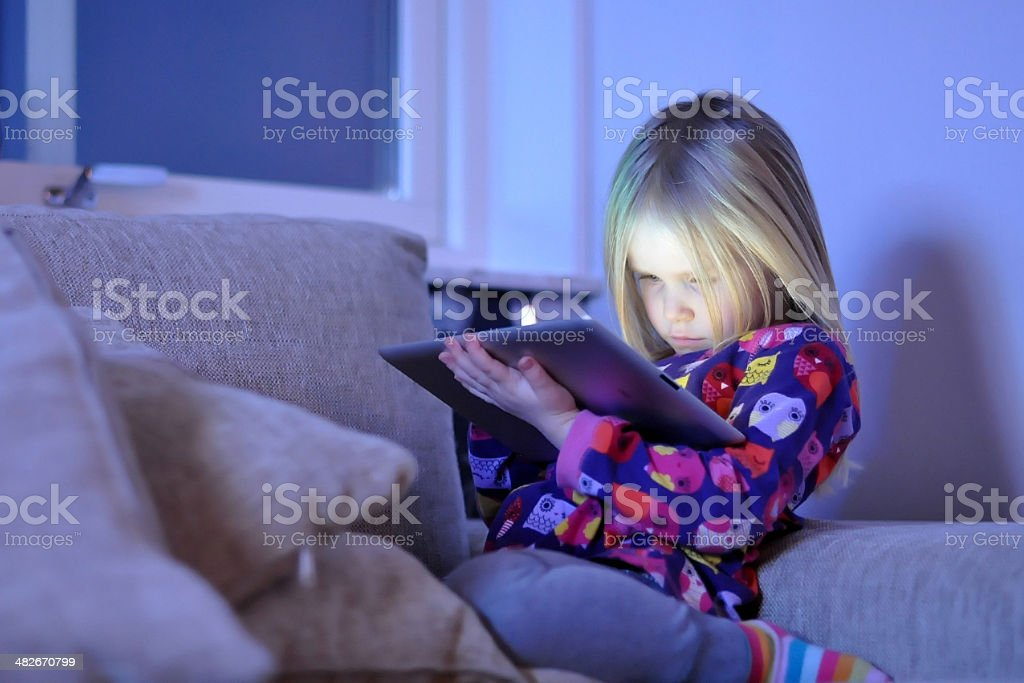 Child with a tablet stock photo