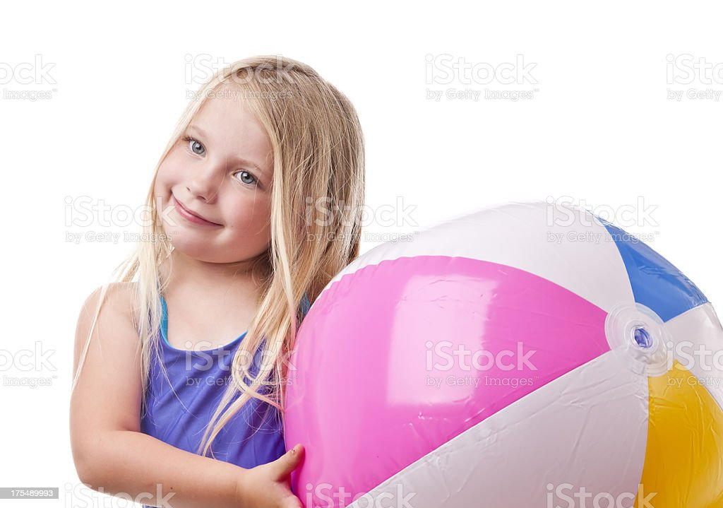 Child with beach ball royalty-free stock photo