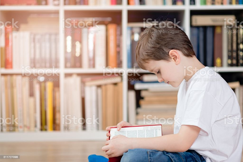 Child with book in the library stock photo