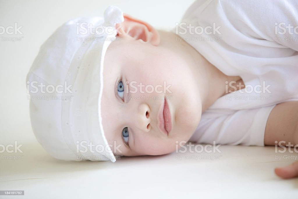Child with cancer laying down royalty-free stock photo