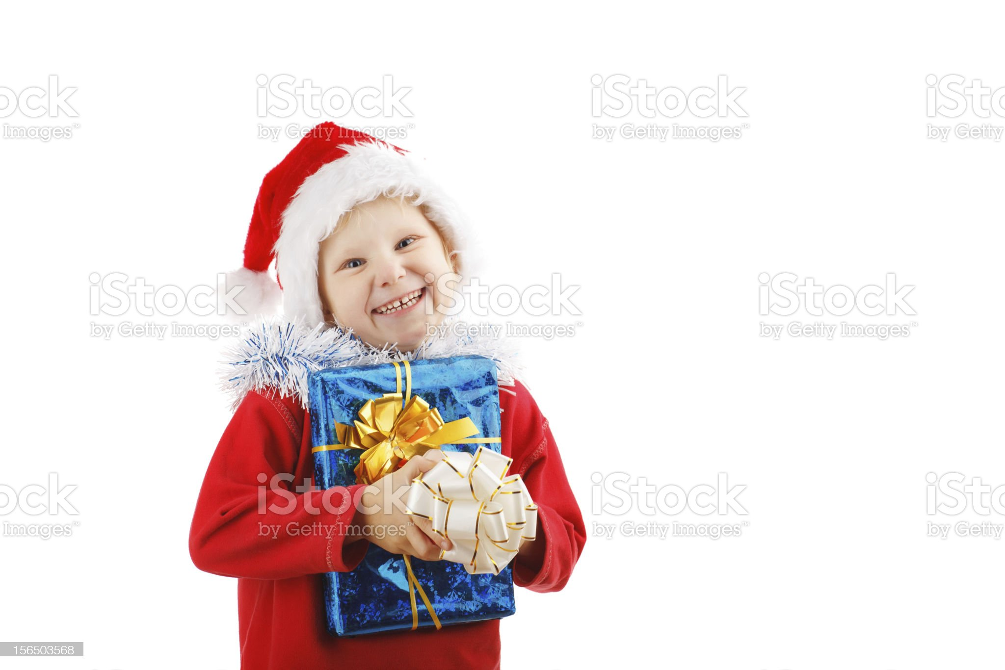 child with Christmas presents royalty-free stock photo