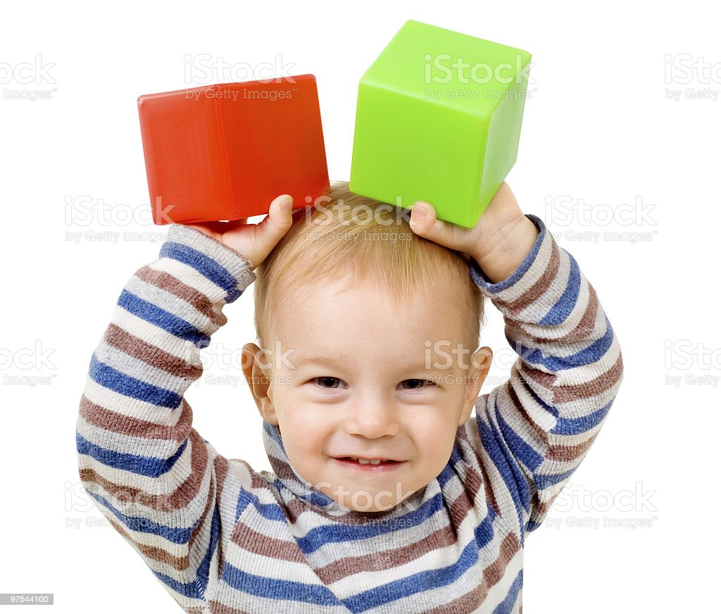 child with cubes stock photo