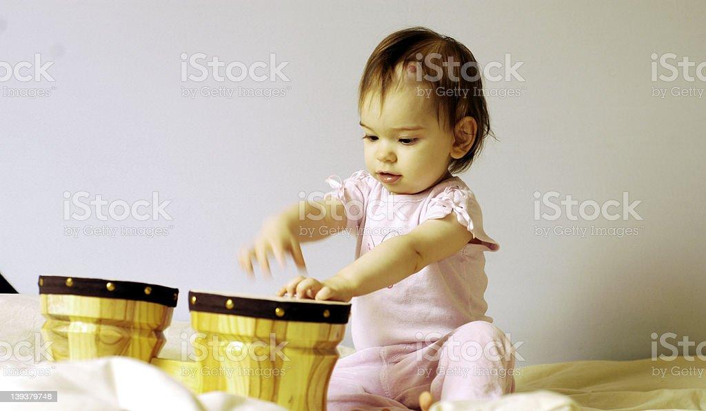 Child with drum (and hemangioma) stock photo