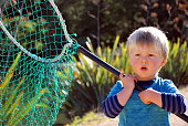 Child with Fishing Net, New Zealand