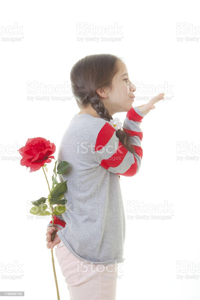 child with flower gift royalty-free stock photo
