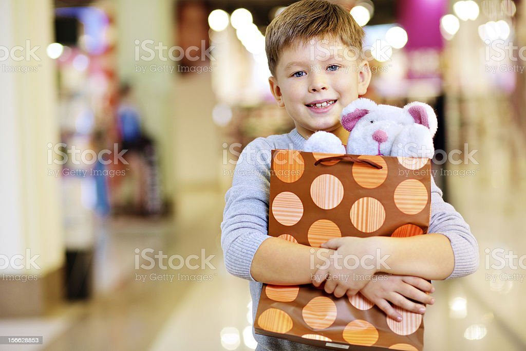 Child with gift royalty-free stock photo
