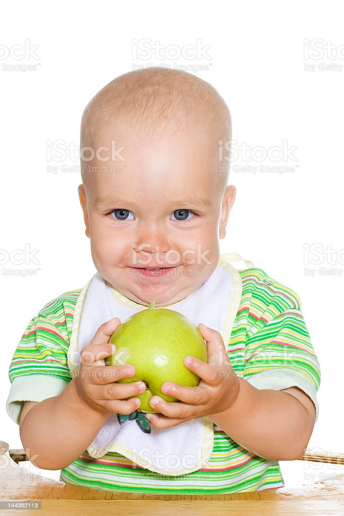 Child with green apple royalty-free stock photo