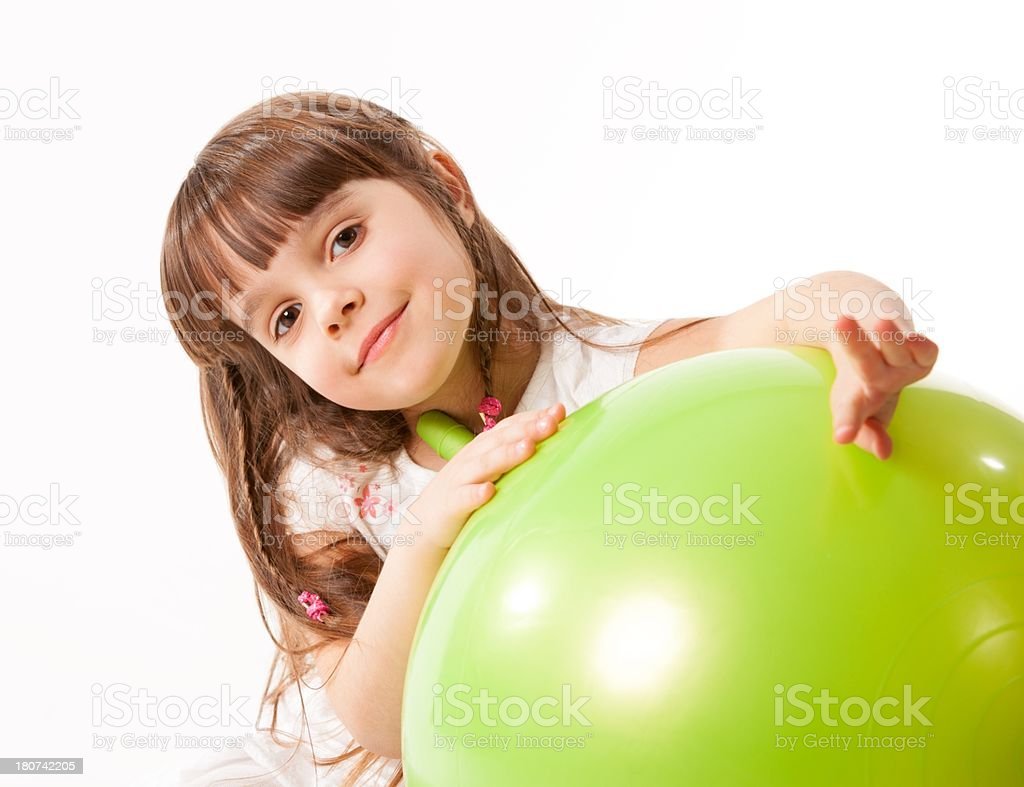 Child with gym ball royalty-free stock photo