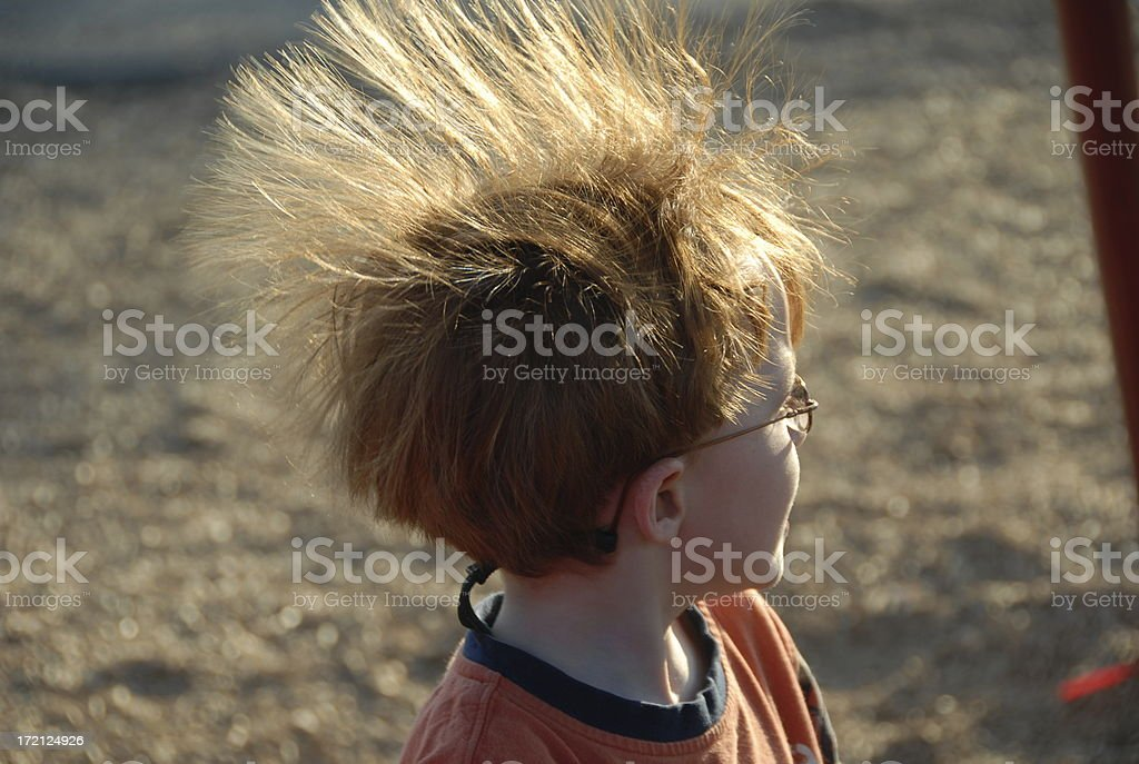 Child with Hair Standing on End, a Punk Redhead Boy! stock photo