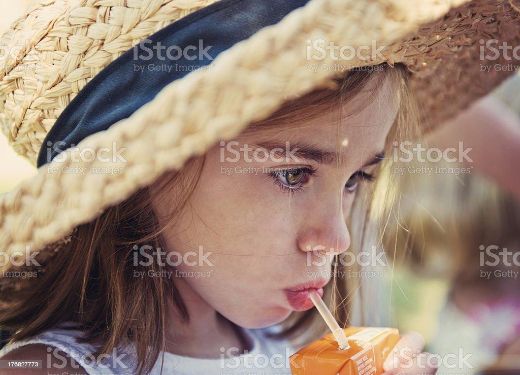 Child With Juice Box stock photo