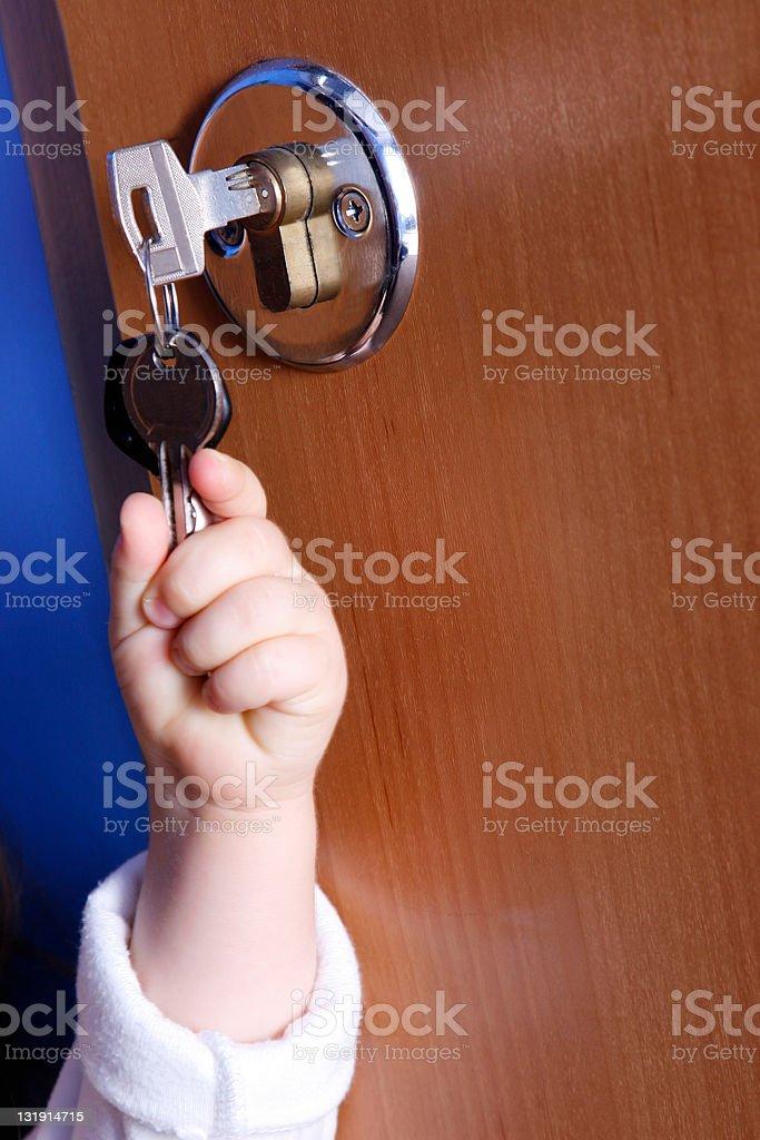 Child with keys stock photo