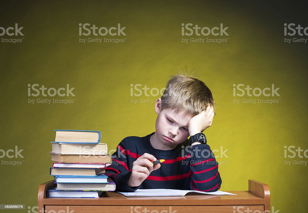 Child with learning difficulties. stock photo