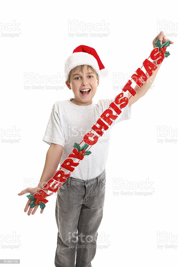 Child with Merry Christrmas stock photo