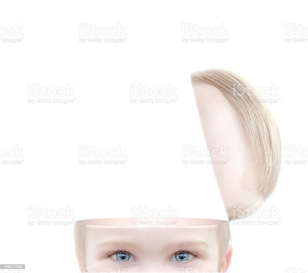 child with open mind stock photo