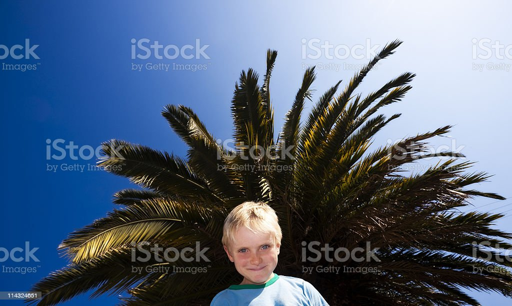 Child with palm tree, sun and sky royalty-free stock photo