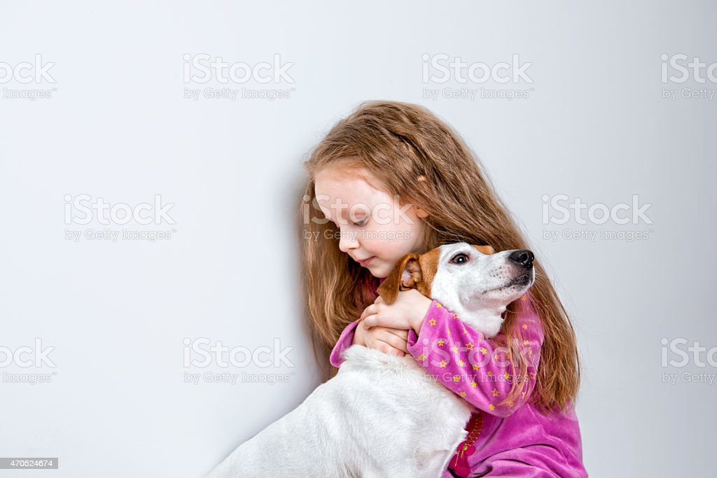 Child with  pet dog royalty-free stock photo