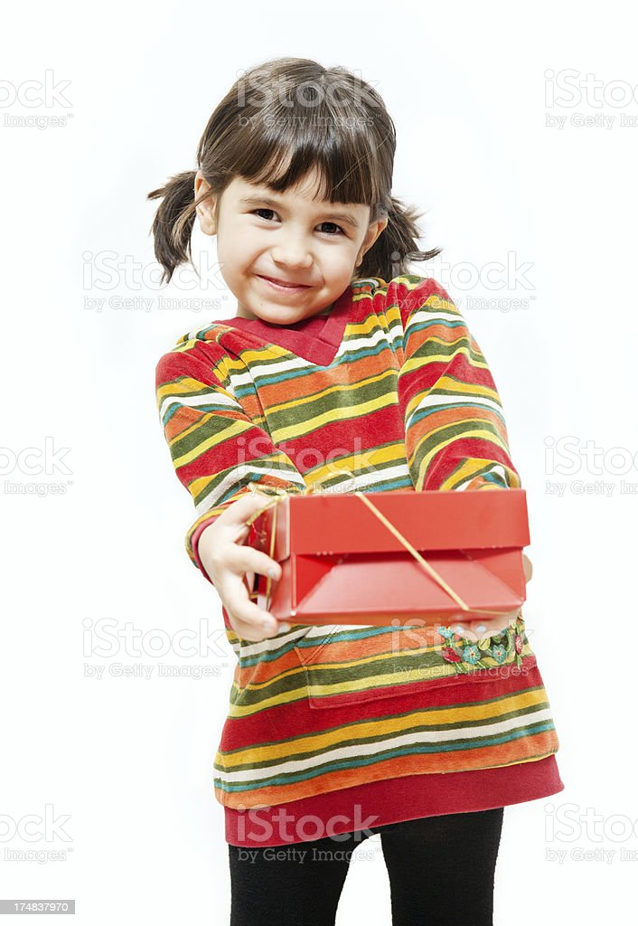 Child with present royalty-free stock photo