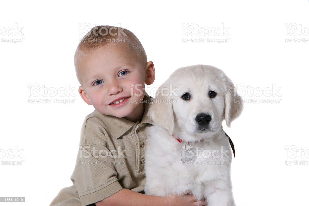 Child with puppy royalty-free stock photo