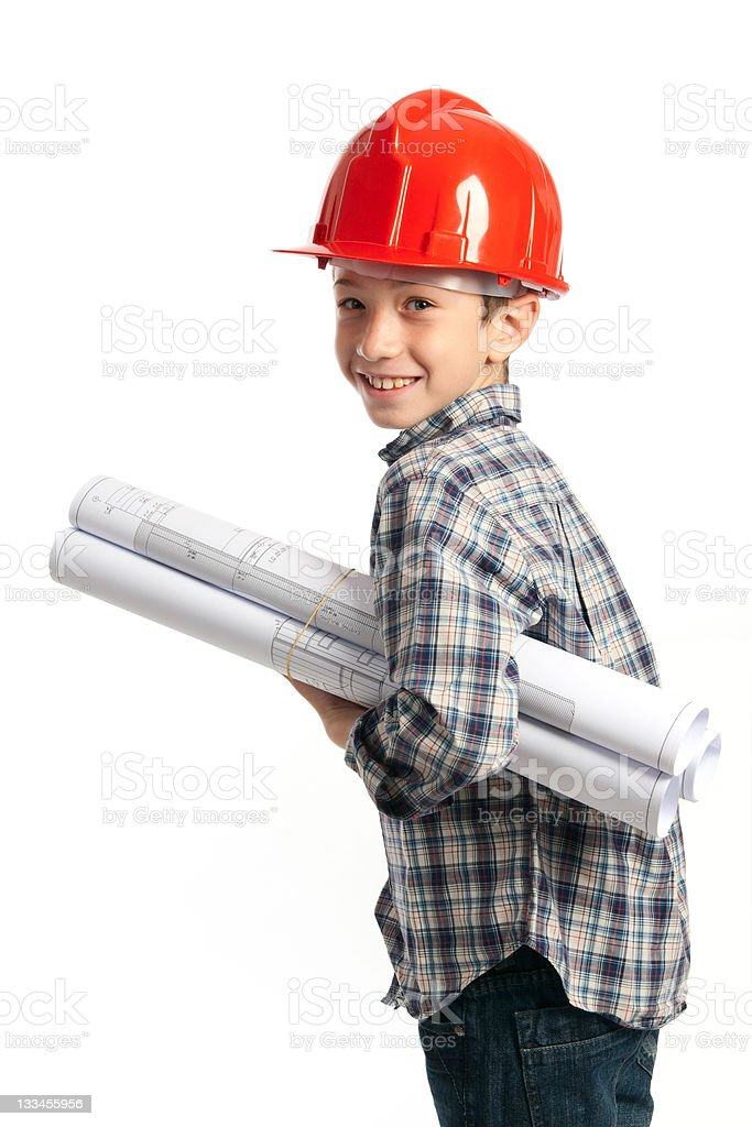 child with red helmet and sketches royalty-free stock photo