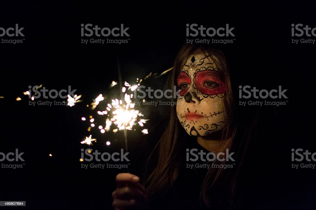 Child with sparkler stock photo