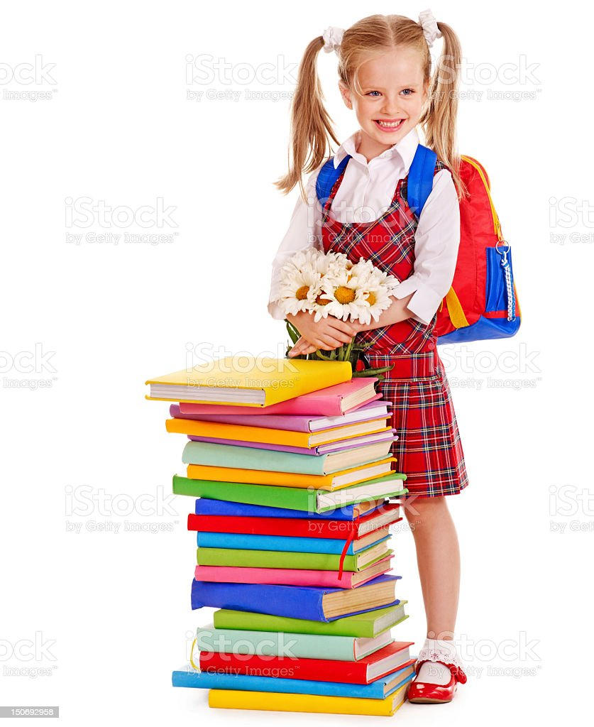 Child with stack book. royalty-free stock photo