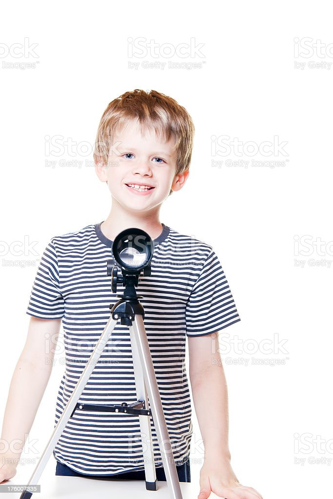 Child with Telescope Start Gazing Little Boy royalty-free stock photo