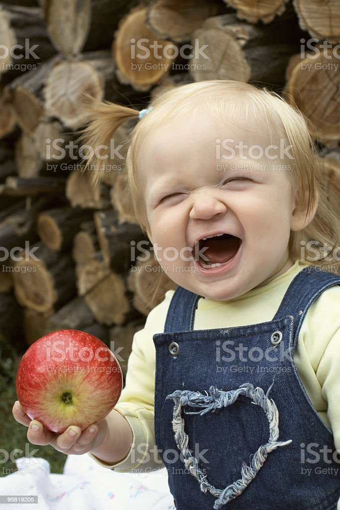 child with the apple royalty-free stock photo