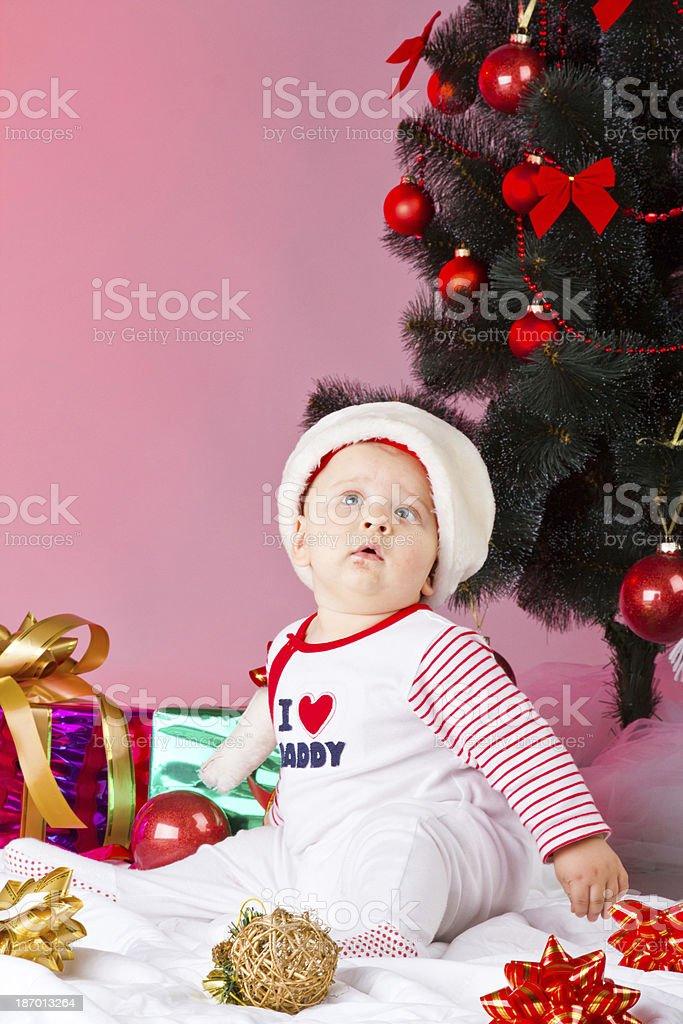 Kind mit Weihnachten Dekoration Lizenzfreies stock-foto
