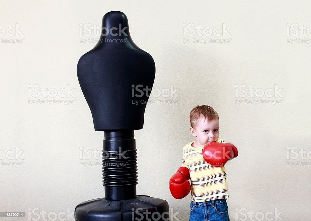 child work out boxing punch stock photo