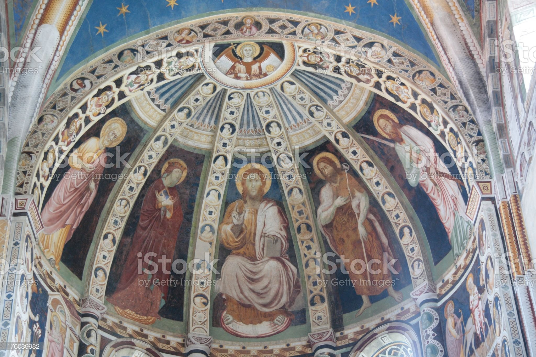 Childhood and Passion of Jesus Christ, Basilica Saint Abbondio, Como royalty-free stock photo