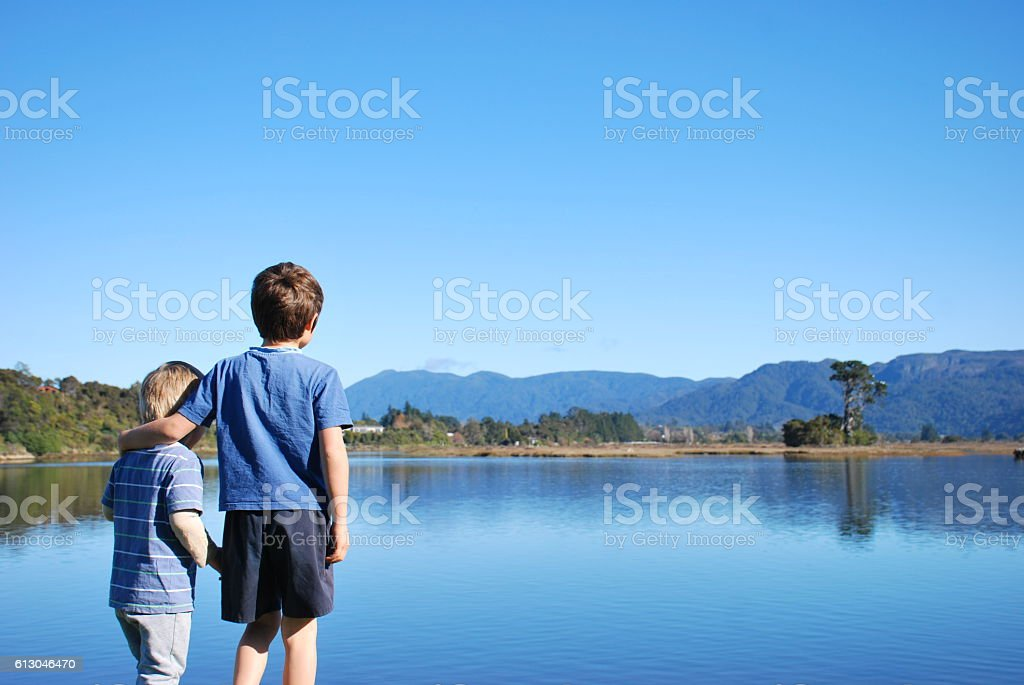 Childhood Brothers and Seascape stock photo