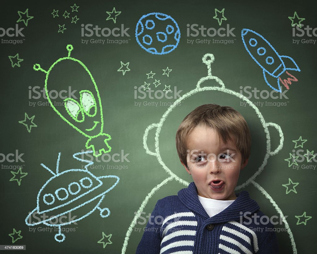 Childhood imagination and dreams stock photo