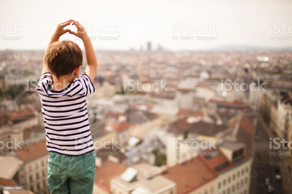 Childhood in a big city stock photo