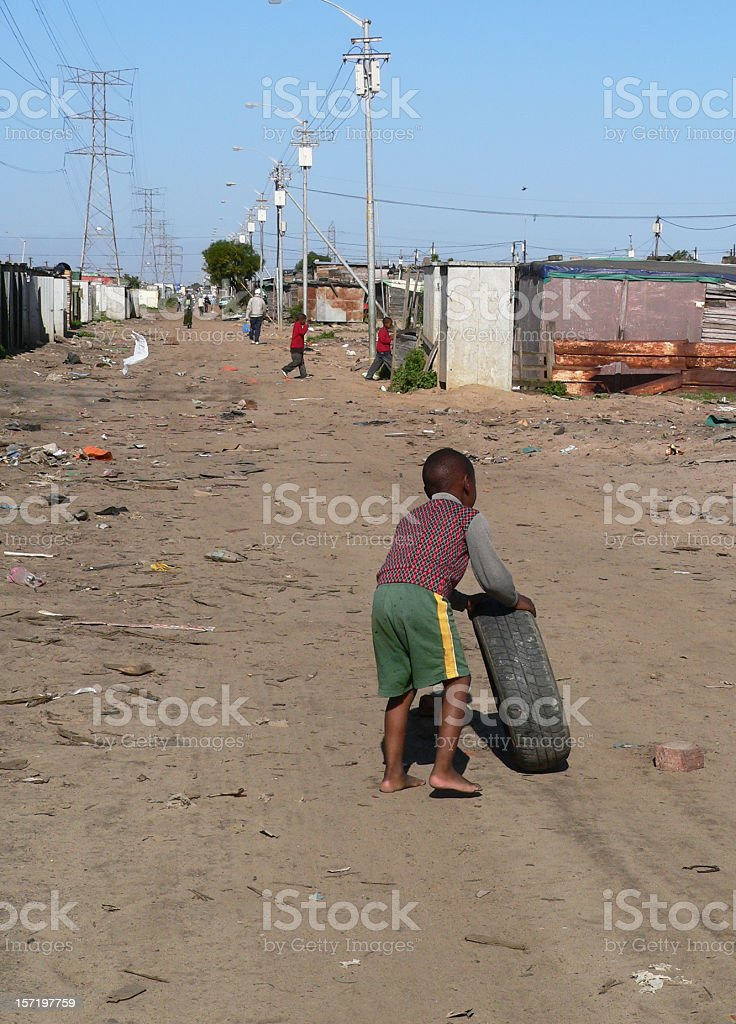 Childhood in a squatter camp - Cape Town, South Africa. stock photo
