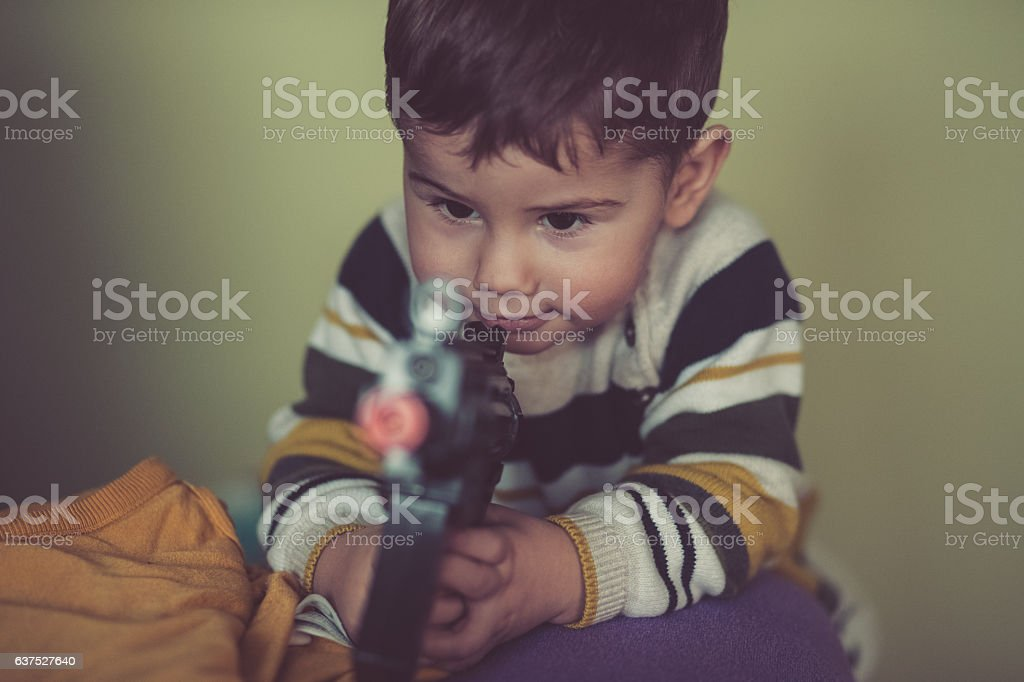 Childhood of a baby boy stock photo